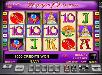На зеркале казино аппарат Magic Princess