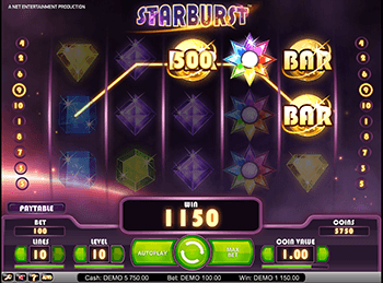 На зеркале казино игровой автомат Starburst